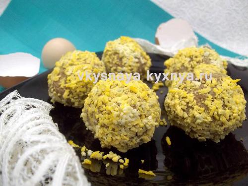 Печеночные шарики с яйцом и помидором на праздничный стол - рецепт пошаговый с фото