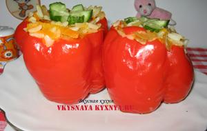Сладкий болгарский перец фаршированный овощами и рисом