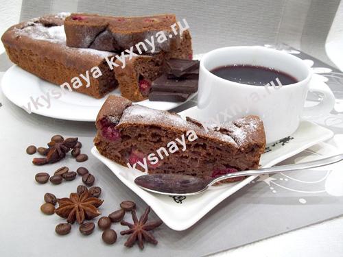 Шоколадный кекс с вишней, рецепт с фото