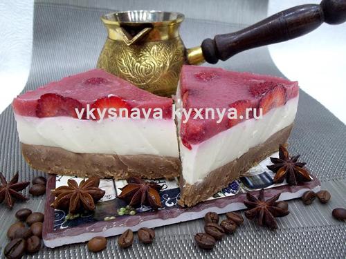 Желейный торт без выпечки из печенья и творога