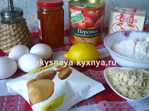 Бисквитный торт с персиками, ингредиенты
