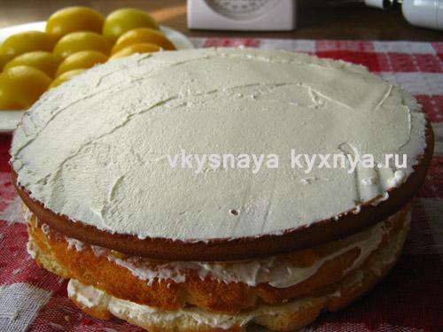 Обмазывание торта кремом