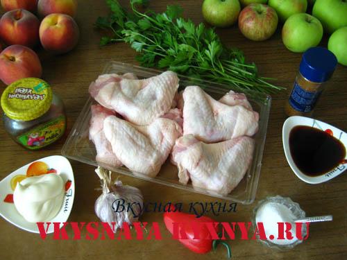 Ингредиенты для запеченных куриных крылышек.