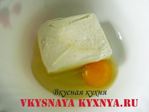 Творог с яйцами для теста