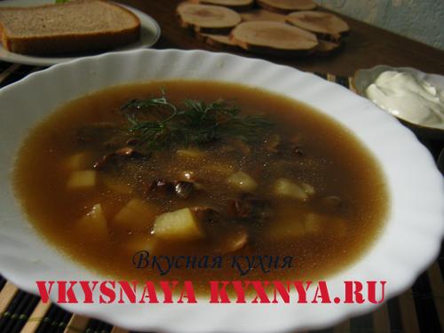 Грибной суп из белых сухих грибов в тарелке