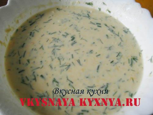 Готовое блинное тесто с сыром и зеленью