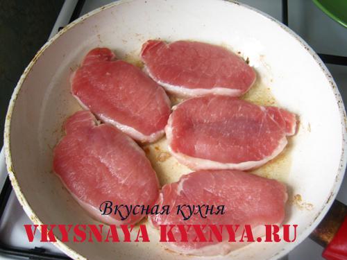 Свинина на сковороде.