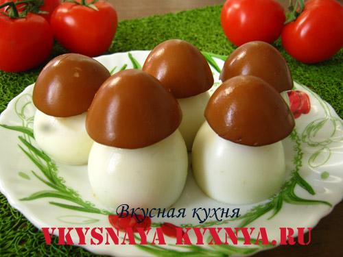 Яйца, фаршированные грибами, рецепт с фото