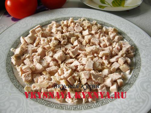 салаты рецепты с фото с курицей и помидорами