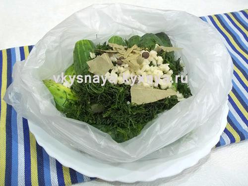 Огурцы в полиэтиленовом пакете с пряностями