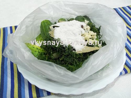 Огурцы в полиэтиленовом пакете с пряностями и солью