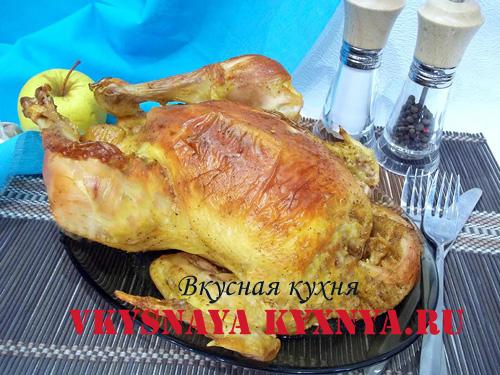 Курица с яблоками запеченная в духовке, рецепт с фото
