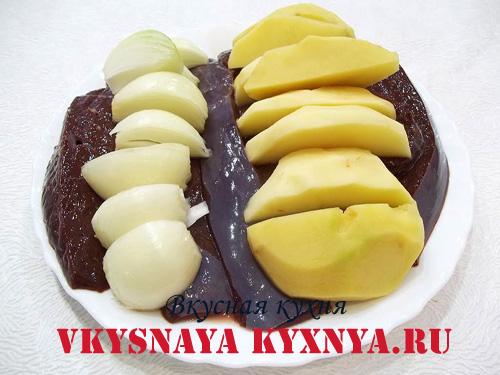 Печень, лук, картофель