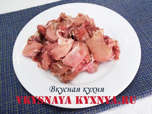 Нарезанное на кусочки мясо