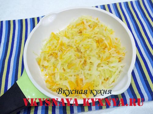 Обжаренные морковь и капуста