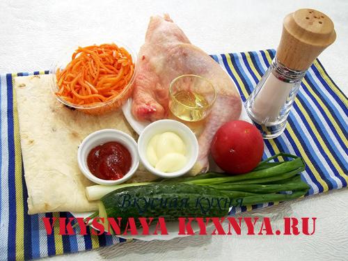 Шаурма с курицей и овощами ингредиенты