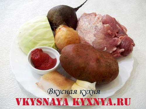 Украинский борщ с салом ингредиенты
