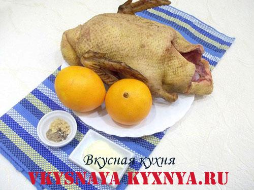 Запеченная утка в рукаве, фаршированная апельсинами , ингредиенты