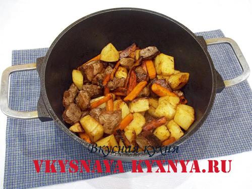 Обжаривание овощей с мясом