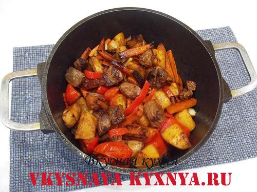 Обжаривание свинины с овощами
