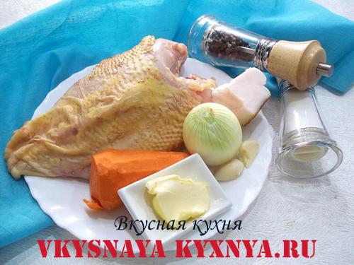 Домашний паштет из куриного филе, ингредиенты