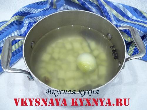 Картофель, лук и специи в кастрюле с водой