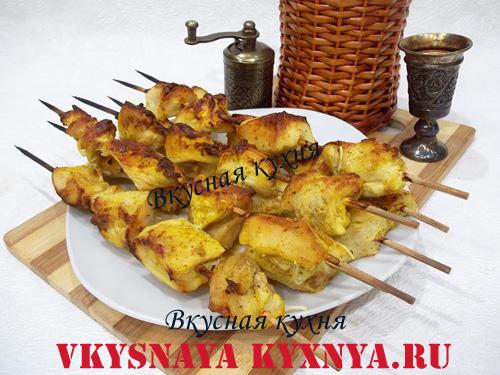 Шашлык из куриного филе в духовке на шпажках, рецепт с пошаговым фото