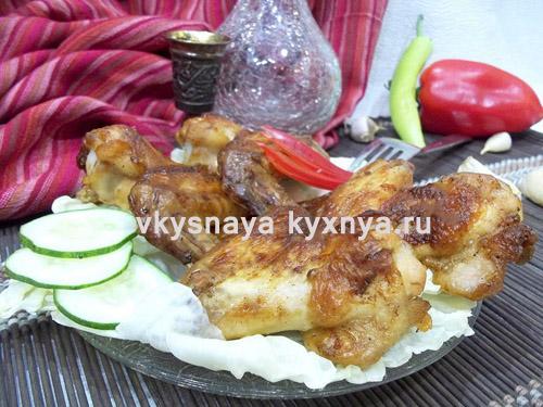 Хрустящие куриные крылышки в горчично-соевом соусе