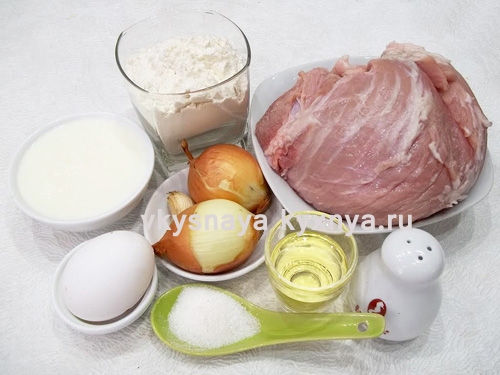 Сытные блинчики с мясом, ингредиенты