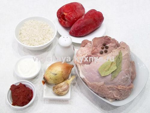 Фаршированные замороженные болгарские перцы, ингредиенты