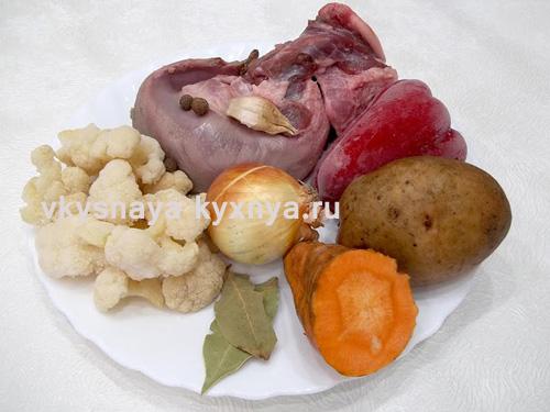 Овощной суп из свиного языка, ингредиенты