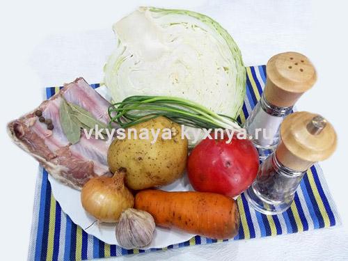 Щи со свиными ребрышками из свежей капусты, ингредиенты