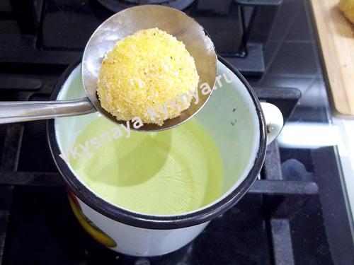 Обжаривание сырных шариков