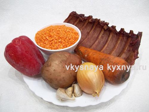 Суп-пюре из красной чечевицы с копчеными ребрышками, ингредиенты
