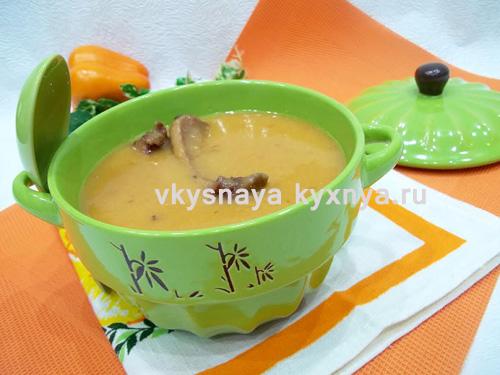 Суп-пюре из красной чечевицы с копчеными ребрышками, рецепт с пошаговым фото