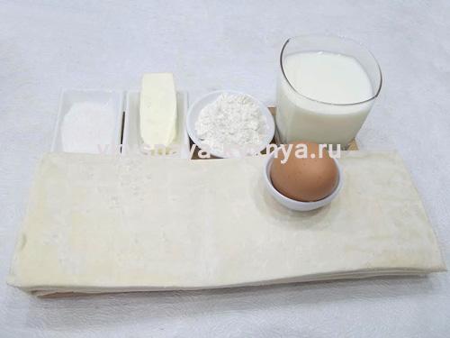 Торт Наполеон из готового слоеного теста ,ингредиенты