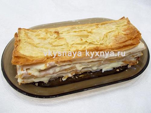 Торт наполеон рецепт пошагово из готового слоеного теста