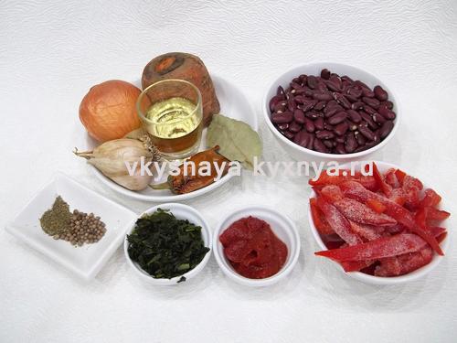 Лобио из красной фасоли по-грузински, ингредиенты