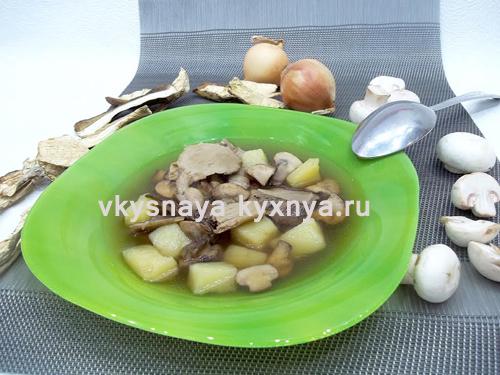 Грибной суп из свежих шампиньонов и сушеных белых грибов: насыщенный, ароматный вкус