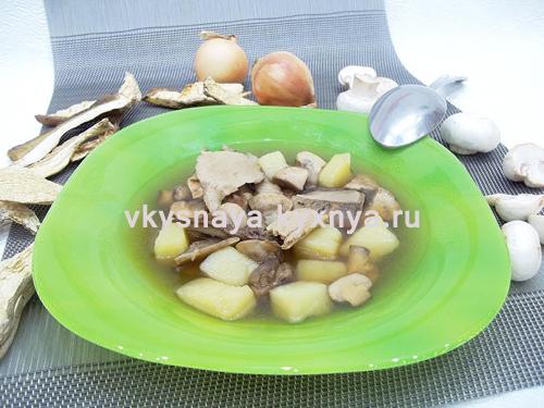 Грибной суп из свежих шампиньонов и сушеных белых грибов