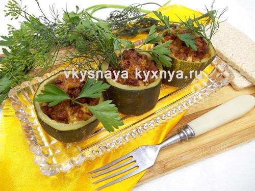 Кабачки фаршированные мясом в духовке
