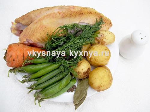 Куриный суп с зеленым горошком ингредиенты
