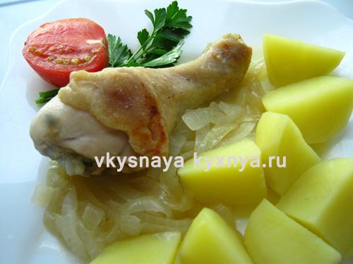 Тушеная с луком курица, рецепт с пошаговым фото