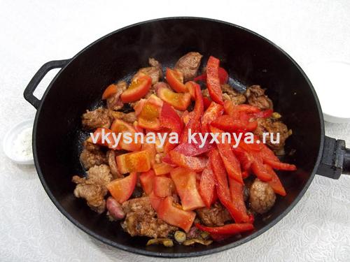 Свинина тушеная с болгарским перцем