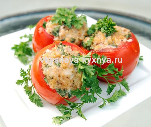 Фаршированные помидоры мясным фаршем и сыром