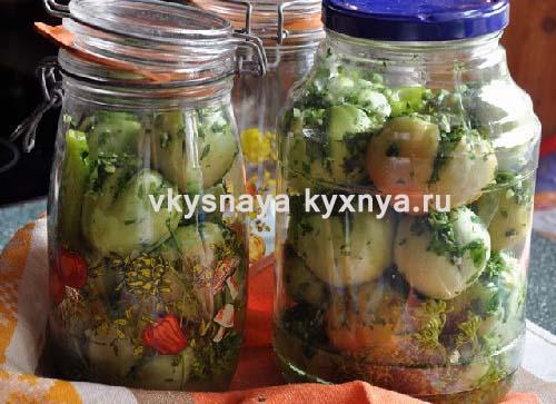 Фаршированные зеленые помидоры на зиму с чесноком и зеленью