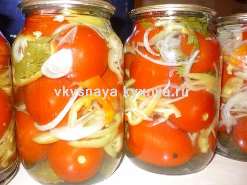 Маринованные помидоры на зиму с перцем и луком в масле