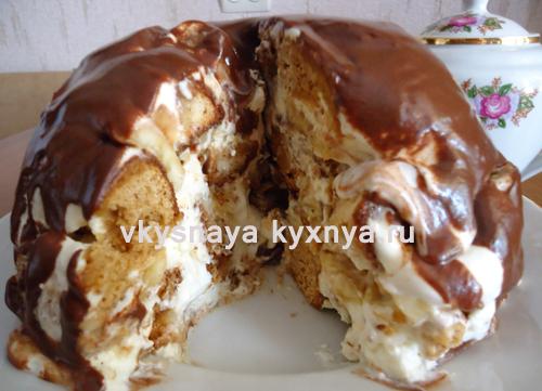 Торт из пряников без выпечки со сметанным кремом