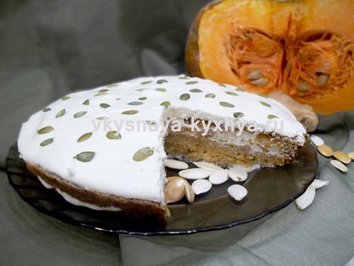 Изумительный торт из тыквы со сметанным кремом