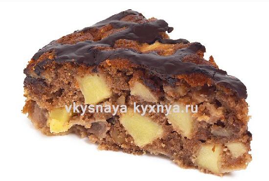 Яблочный пирог из песочного теста с шоколадной глазурью